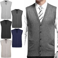 MENS SLEEVELESS GRANDDAD CARDIGAN CLASSIC BUTTON UP KNITWEAR POCKETS SWEATER TOP