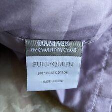 Charter Club Damask Stripe 3 Piece Full/Queen Duvet Cover Set Lilac purple