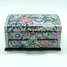 Flashy mother of pearl inlay black jewelry box drawer and top layer by artisan