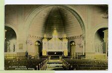 VINTAGE POSTCARD ~ WORCESTER, MASSACHUSETTS ~ St John's Church Interior
