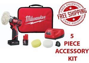 Milwaukee 2438-22X Speed Polisher Sander w/ 5 Piece Accessory Kit Free Shipping