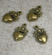 Antique Bronze Charm Heart With Flower - pack of 14