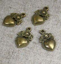 Antique bronze charm coeur avec fleur-pack de 14