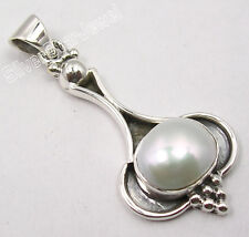 """925 Sterling Silver WHITE AAA PEARL ANTIQUE LOOK UNUSUAL Pendant 1.5"""" BIJOUX"""