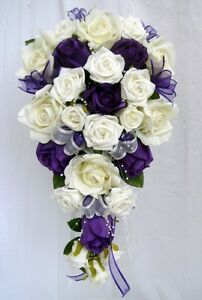 WEDDING BOUQUET   PURPLE & IVORY ROSES PEARLS