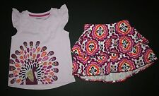 New Gymboree Gem Peacock Top Medallion Ruffle Skort Skirt Set 2T Spice Market