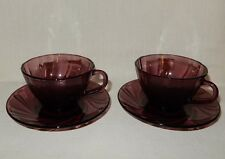 2 FRANCE Duralex Rivage Amethyst Purple Swirl Cup and Saucer Sets