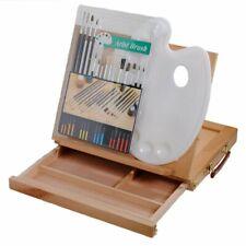 Shop4Omni Student Portable Desktop Artist Easel w 15pc Paintbrush Set + Palette