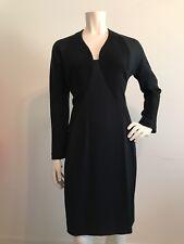 Vintage 1990s Geoffrey Beene Black Dress 6 8 Bodycon Stretch Dolman Sleeve