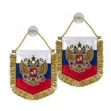 Russian mini Pennant Banner with Eagle coat of arms flag w suction cup - 4.5 in