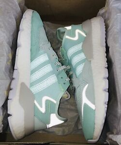 $130 Adidas Nite Jogger Boost Shoes Ice Mint Green/White, F33837, Women's Size 8