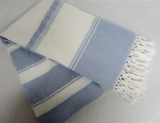 BEACHY BOHEMIAN Chambray Blue & White Waffle Weave Fringed Cotton Shower Curtain