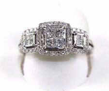 Princess Cut Diamond Invisible Cluster Lady's Ring Band 14k White Gold 1.02Ct