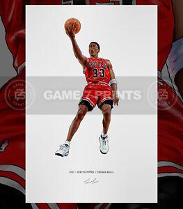 Scottie Pippen Chicago Bulls Basketball Illustrated Print Poster Art