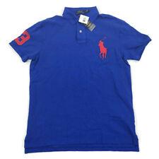 "Polo Ralph Lauren Mens Polo Shirt Custom Slim Fit Big Pony Logo ""3"" Blue Medium"
