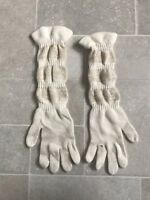 Vintage Gold Lurex Ivory Wool Ladies Full Length Gloves 1970's VGC