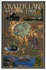 Crater Lake National Park Oregon, Wizard Island Bears Lodge, Modern Map Postcard