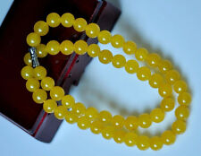 beautiful 8MM NATURAL YELLOW JADE GEMSTONE NECKLACE CHAIN 18 INCH