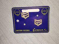 VINTAGE GEMSCO INC. UNIFORM INSIGNIA MILITARY PINS ON CARD STOCK