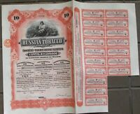 The Russian Tobacco Company.  10 shares=£10 bond dated 1915