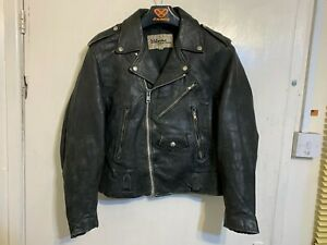 VINTAGE 80'S WILSONS LEATHER BRANDO MOTORCYCLE JACKET SIZE 38 / XS