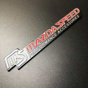 1Pcs Red MS MAZDASPEED Letter Performance Alloy Racing Badge Car Sticker Emblem
