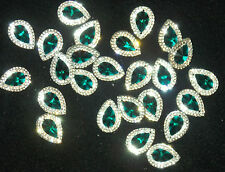 emerald green & clear sew On Jewel 18mm GEM CRYSTAL RHINESTONE trim Bead