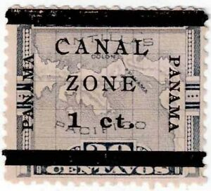 1906 Canal Zone 1c Violet Stamp Scott # 16b (type c) Mint Regummed? H