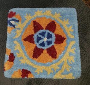 Company C wool square stool chair pad cushion bistro aqua blue red southwestern