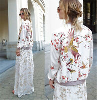 Women's Hot Embroidered Bomber Jacket Women Baseball Coat Floral Embroidery