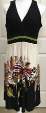 Evan Picone size 12 cream black green pink v-neck sleeveless dress women's