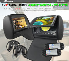 "2x 9"" HD Headrest ET Car DVD Player Rear Monitor Pillow + Wireless Headphones IR"