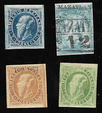 MEXICO - 1865-66, EAGLE & MAXI.- 4 STAMPS, 3 UNUSED AND EAGLE 1r MAZATLAN, USED