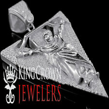 Pure White Gold Sterling Silver Simulated Diamond Jesus Cross Crucifix Pendant