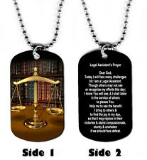 DOG TAG NECKLACE - Legal Assistant's Prayer 1 Attorney Law God Jesus Lawyer