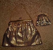 VINTAGE WHITING AND DAVIS GOLD METAL MESH HANDBAG & PURSE SET LOT 40'S 50'S BAG