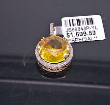 Yellow Round Canary Diamond Look Pendant/Charm In 10K Yellow Gold With Diamonds
