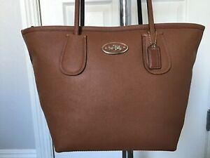 COACH TAXI TOTE BEAUTIFUL LARGE BROWN CROSSGRAIN LEATHER ZIPPERED TOTE VGUC