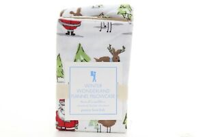 Pottery Barn Kids Winter Wonderland Flannel Pillowcase Santa Reindeer NWT