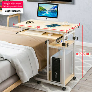 Laptop Stand Table Rolling Cart Computer Desk Sofa Bed Adjustable Height W/Wheel