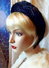 Chapeau Jules Vintage Navy Feather Crown Headband Headpiece Hat Wedding ASCOT
