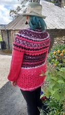 100% Pur Cachemire 22ply Chunky Knit Cardigan Sweater Pull fait main Scotland