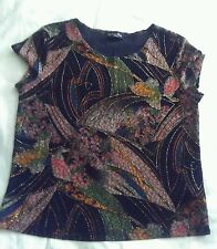 Brittany black short sleeve top brown pink orange blue, multi color, spandex