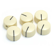 "(6) Genuine Fender Vintage White ""Radio"" Amplifier Amp Knobs 099-0933-000"