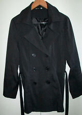 Ladies Now Size 12 Black Coat Jacket Short Trench Lined With Belt