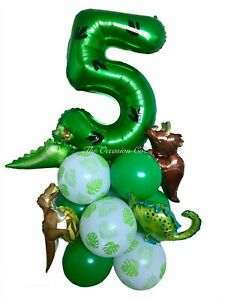 Dinosaur Balloon Birthday Display Set Green Number Age Dino Children's Party