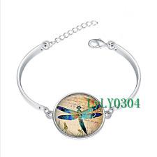 Dragonfly Brilliance glass cabochon Tibet silver bangle bracelets wholesale