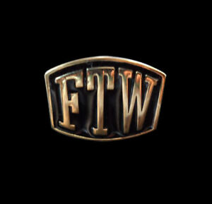 Solid Bronze FTW Letter Biker Ring Blk Enamel Custom Sized Fly The Wind TL-001