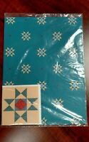 1990s Gift Wrap Wrapping Paper & Card Quilt Teal Scrapbooking Multi Occasion 8sf