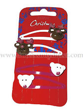 PACK OF 4 CHRISTMAS HAIRSLIDES REINDEER & POLAR BEAR HAIRCLIPS GLITTERY PINK NEW